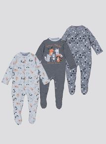 Grey Raccoon Sleepsuits 3 Pack (0-24 Months)
