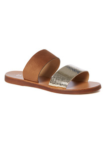 Gold Two Band Flat Mule Sandals