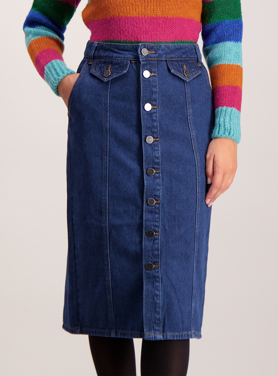 Mid Denim Button Through Midi Skirt