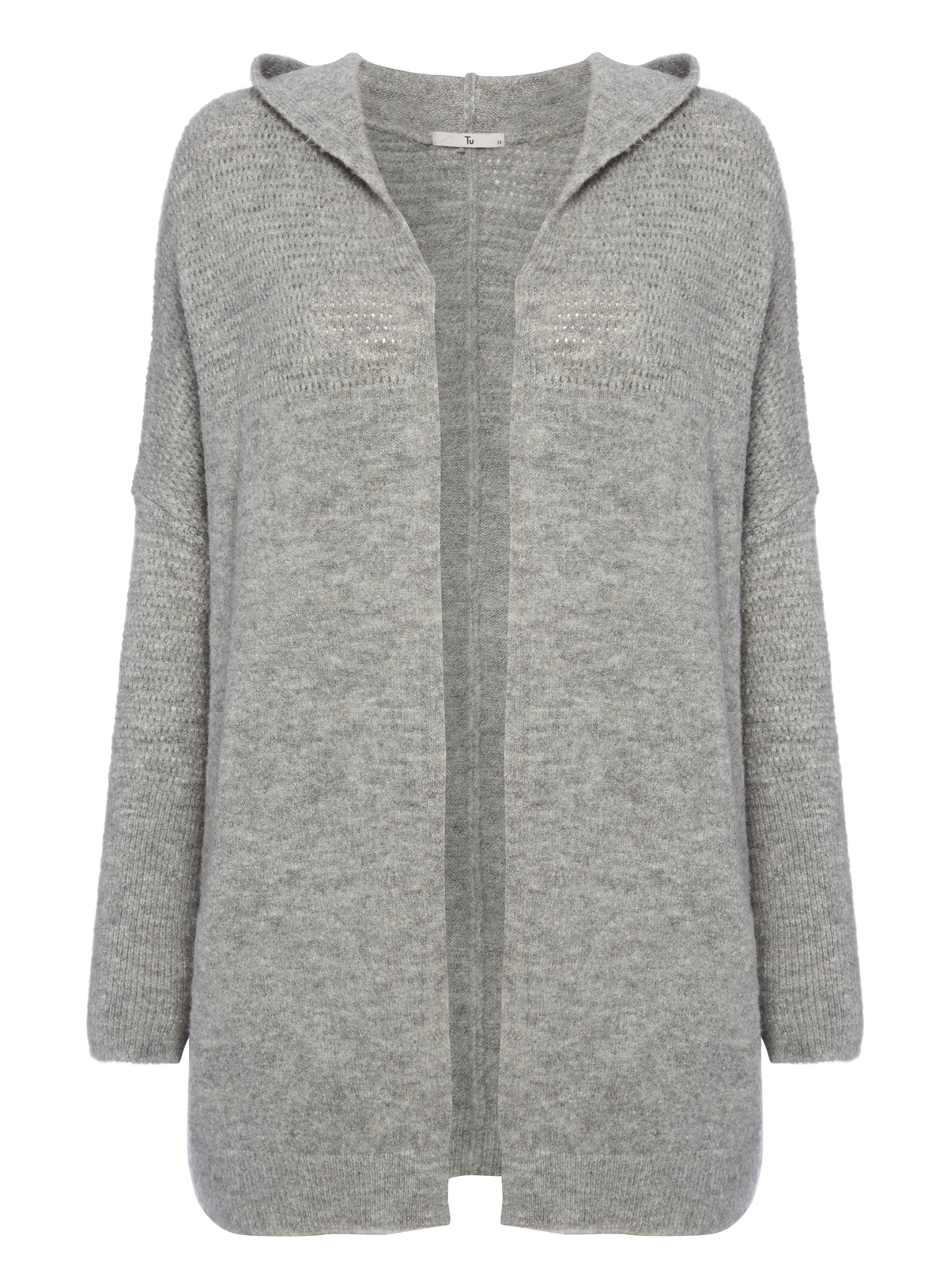 Womens Grey Felted Hooded Cardigan | Tu clothing