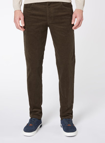 Khaki Slim Fit Cord Trousers With Stretch