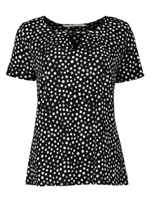 Black Spot Print Keyhole Detail Top