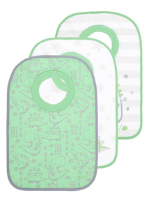 Green Dino Popover Bibs 3 Pack