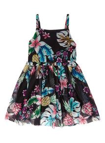 Black Pineapple Mesh Dress (3-14 years)