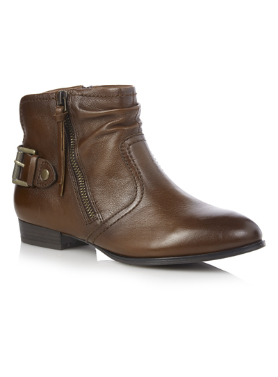 0e1d858db830 Womens Brown Flat Leather Ankle Boots