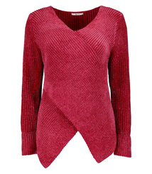 Cerise Pink Chenille Wrap-Front Long-Sleeved Jumper