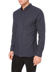 Charcoal Brushed Gingham Shirt