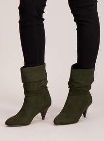 Green Suede Effect Pixie Ankle Boots