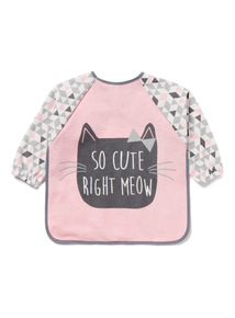 Pink Geometric Meow Long Sleeve Bib