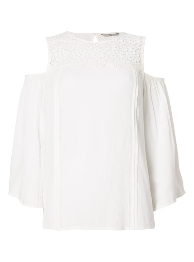 Cream Lace Cold Shoulder Top
