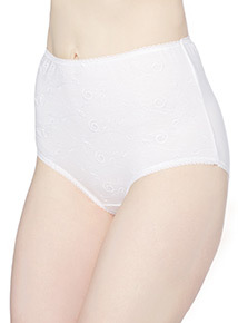 White Embroidered Full Briefs 5 Pack