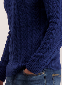 Cobalt Blue Cable Knit Crew Neck Jumper