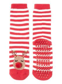 Red One Pack Reindeer Socks