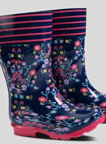 Navy Floral Wellies (10 Infant - 4)