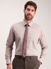 Stone Easy To Iron Cotton Rich Shirt And Brown Polka Dot Tie Set