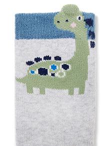 3 Pack Blue Dinosaur Socks (1-24 months)