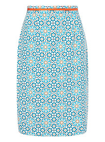 Multicoloured Mosaic Tile Printed Pencil Skirt