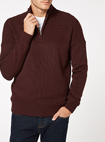 Dark Red Acrylic Half Zip Jumper
