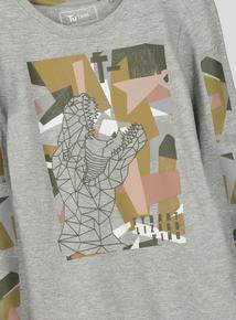 Grey Long Sleeve T-Rex Long Sleeve T-Shirt (3-14 years)
