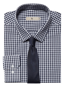 Navy Gingham Shirt With Tie