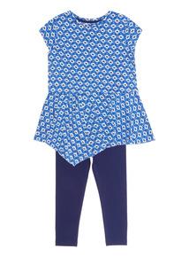 Girls Blue Tile Pattern Set (9 months - 6 years)