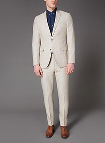Stone Herringbone Linen Suit Jacket