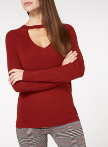 Ribbed Choker Neck Jumper