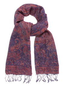 Berry Red Woven Jacquard Scarf