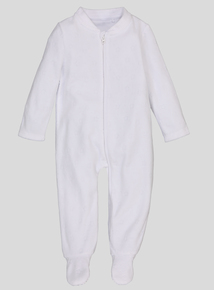 White Velour All In One (Newborn - 12 Months)