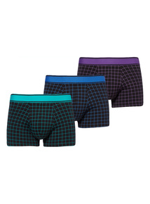 Three Pack Bright Grid Check Hipster
