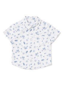 White Holiday Print Shirt (0-24 months)