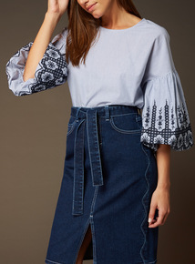 Premium Stripe Embroidered Top
