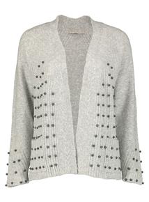 Premium Grey Faux Pearl Embellishment Cardigan