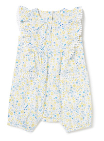 White Floral Printed Romper (0-24 months)