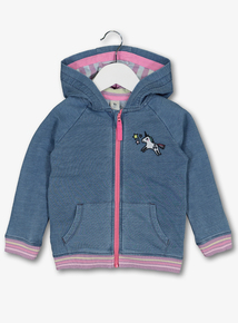 Blue Unicorn Zip Through Hoodie (9 months-6 years)