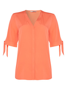 Coral V Neck Blouse
