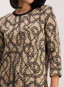 Beige Chain Print Jacquard Top