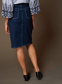 Premium Denim Scallop Belted Skirt