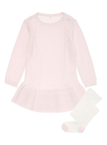 Pink Knitted Dress and Tights (0-24 months)