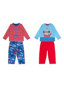 Kids Multicoloured Ahoy Maties Pyjamas 2 Pack