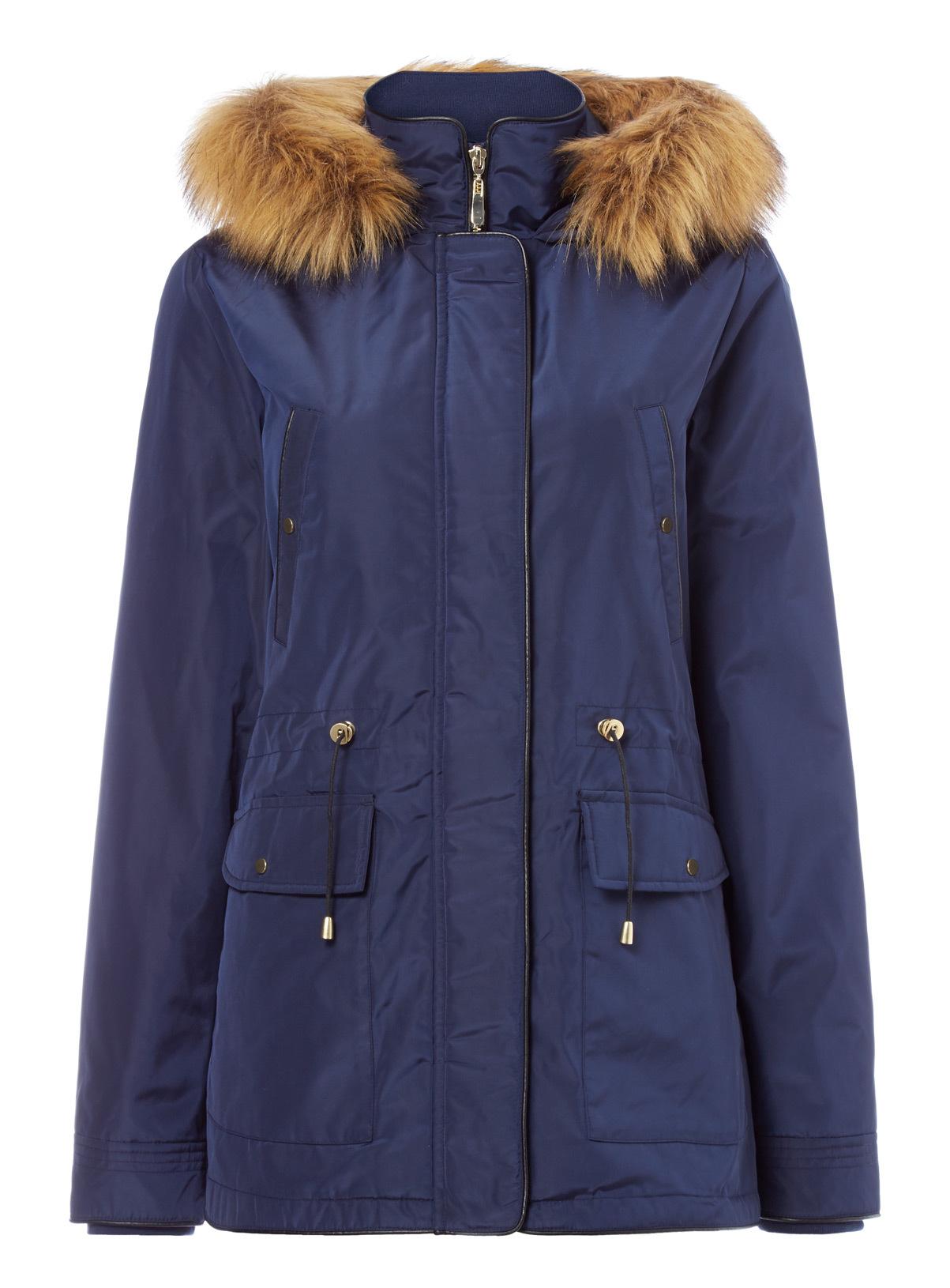 Womens Navy Short Parka Coat | Tu clothing