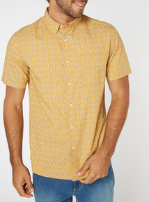 Yellow Ditsy Print Regular Fit Shirt