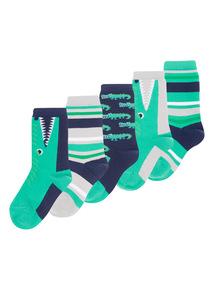 5 Pack Green Crocodile Socks (3-6.5)