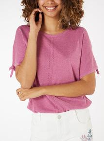 Tie-Cuff Knitlook Top