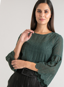 Premium Dark Green Fluted Sleeve Lace Blouse