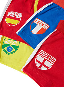 4 Pack Multicoloured Football Trunks (3-12 years)