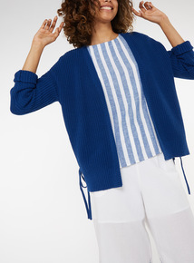 Navy Eyelet Side-Tie Knitted Cardigan