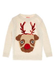 Cream Christmas Reindeer Face Jumper (3-14 years)