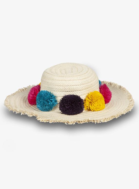 19e8110b Kids Natural Floppy Straw Pom-Pom Hat (3 - 13 Years) | Tu clothing