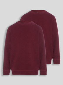 Dark Red Crew Sweatshirts 2 Pack (3-12 years)